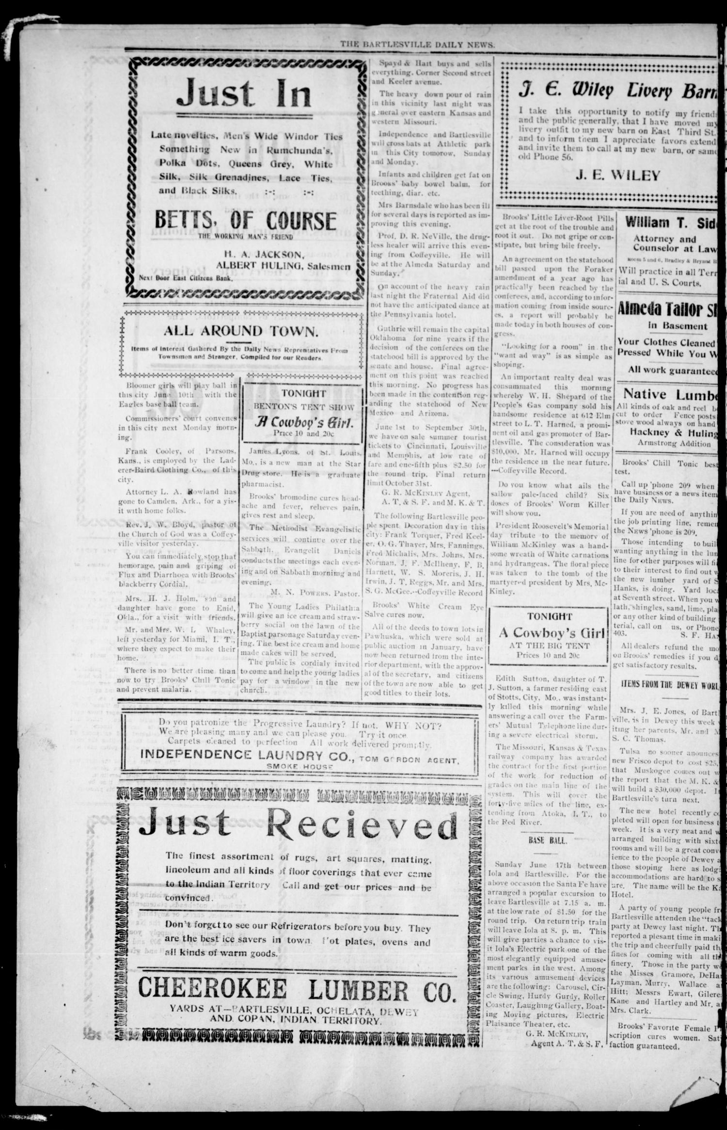 Bartlesville Daily News. And Bartlesville Daily Pointer. (Bartlesville, Indian Terr.), Vol. 1, No. 260, Ed. 1 Friday, June 1, 1906                                                                                                      [Sequence #]: 4 of 4