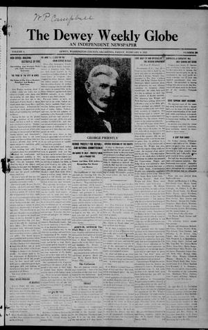 Primary view of object titled 'The Dewey Weekly Globe (Dewey, Okla.), Vol. 1, No. 10, Ed. 1 Friday, February 9, 1912'.