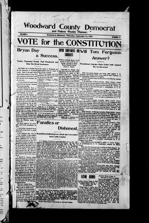 Primary view of object titled 'Woodward County Democrat and Palace Weekly Pioneer. (Woodward, Okla.), Vol. 3, No. 21, Ed. 1 Thursday, September 12, 1907'.