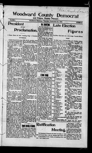 Primary view of object titled 'Woodward County Democrat and Palace Weekly Pioneer. (Woodward, Okla.), Vol. 3, No. 23, Ed. 1 Thursday, September 26, 1907'.
