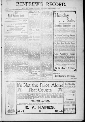 Primary view of Renfrew's Record. (Alva, Okla. Terr.), Vol. 3, No. 6, Ed. 1 Thursday, December 17, 1903