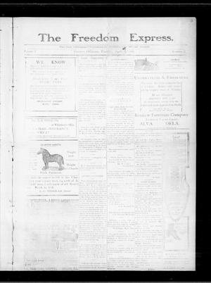 Primary view of object titled 'The Freedom Express. (Freedom, Okla.), Vol. 5, No. 2, Ed. 1 Thursday, April 21, 1910'.