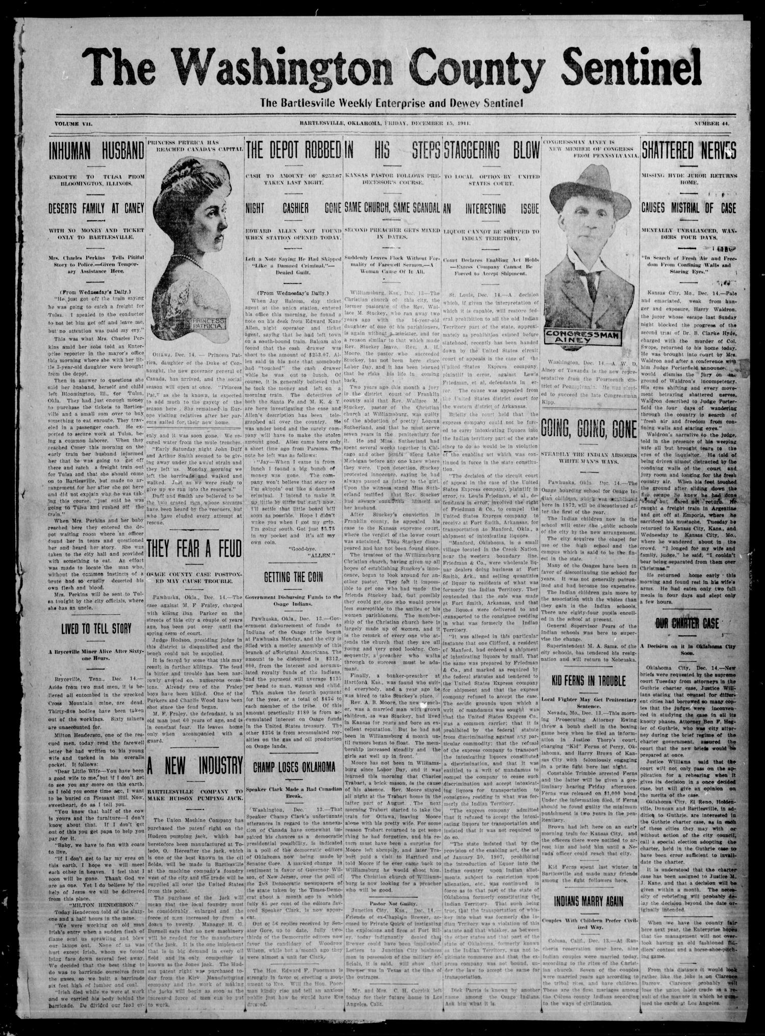 The Washington County Sentinel The Bartlesville Weekly Enterprise and Dewey Sentinel (Bartlesville, Okla.), Vol. 7, No. 44, Ed. 1 Friday, December 15, 1911                                                                                                      [Sequence #]: 1 of 6