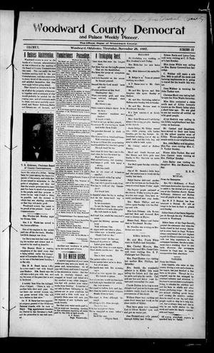 Primary view of object titled 'Woodward County Democrat and Palace Weekly Pioneer. (Woodward, Okla.), Vol. 3, No. 32, Ed. 1 Thursday, November 28, 1907'.