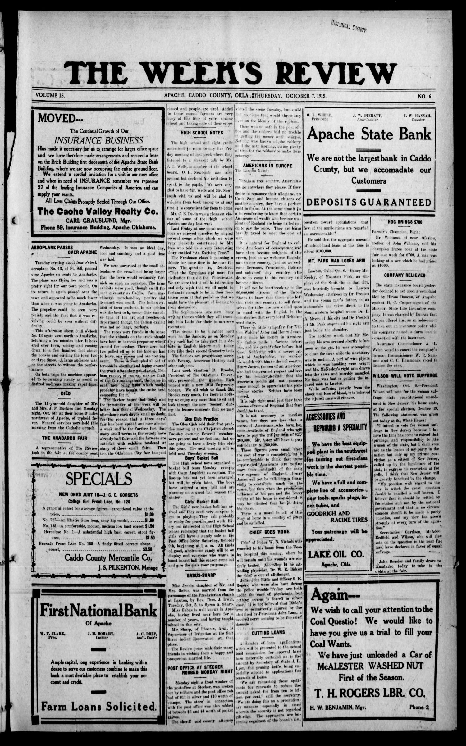 The Week's Review (Apache, Okla.), Vol. 15, No. 6, Ed. 1 Thursday, October 7, 1915                                                                                                      [Sequence #]: 1 of 4