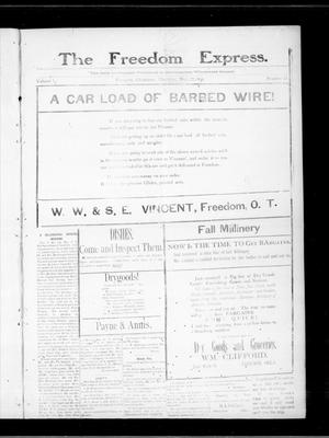 Primary view of object titled 'The Freedom Express. (Freedom, Okla.), Vol. 1, No. 32, Ed. 1 Thursday, November 22, 1906'.