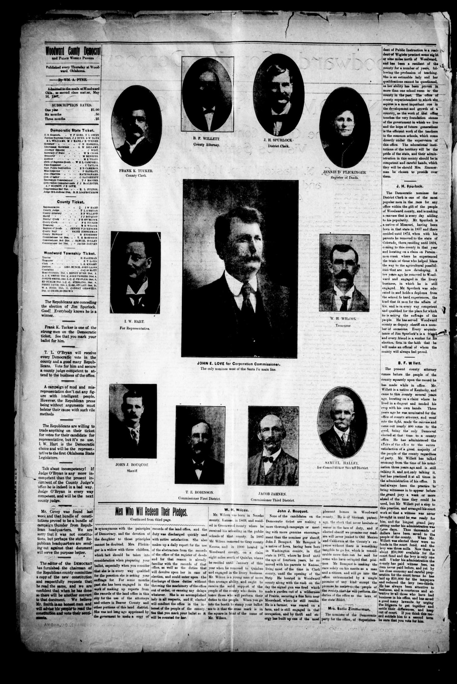 Woodward County Democrat and Palace Weekly Pioneer. (Woodward, Okla.), Vol. 3, No. 19, Ed. 1 Thursday, August 29, 1907                                                                                                      [Sequence #]: 2 of 4