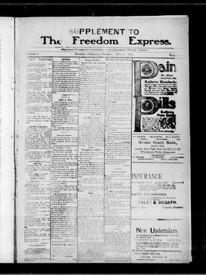 Primary view of object titled 'The Freedom Express. (Freedom, Okla.), Vol. 2, No. 46, Ed. 2 Thursday, February 27, 1908'.