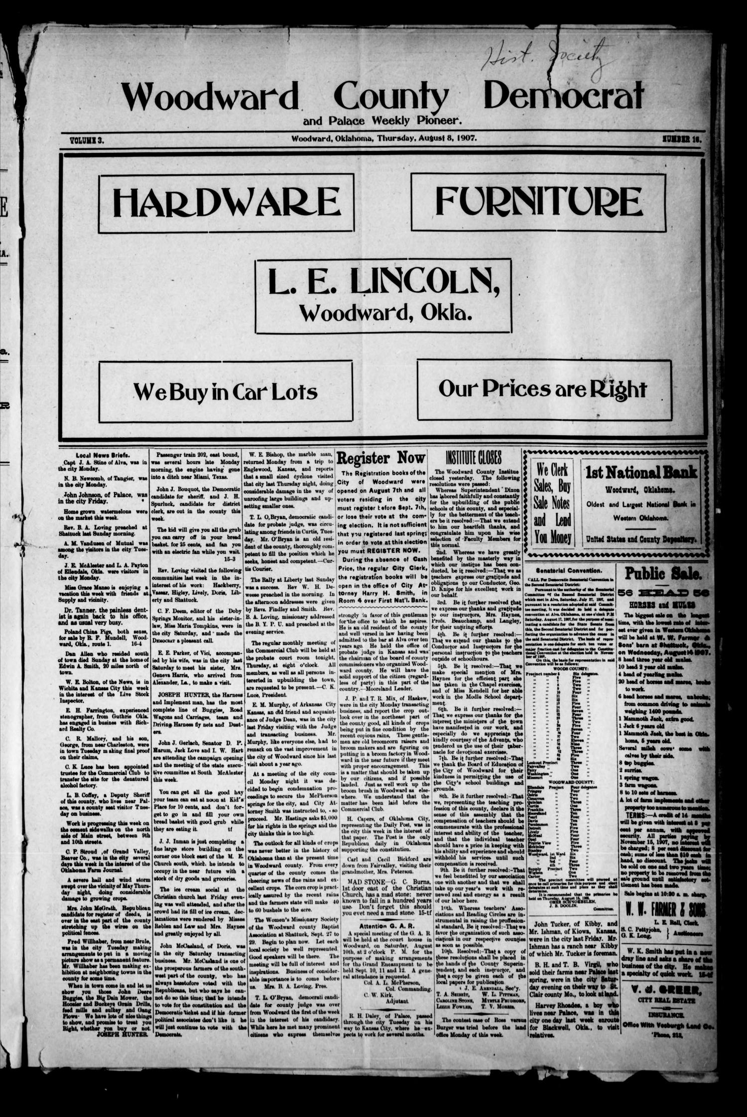 Woodward County Democrat and Palace Weekly Pioneer. (Woodward, Okla.), Vol. 3, No. 16, Ed. 1 Thursday, August 8, 1907                                                                                                      [Sequence #]: 1 of 4