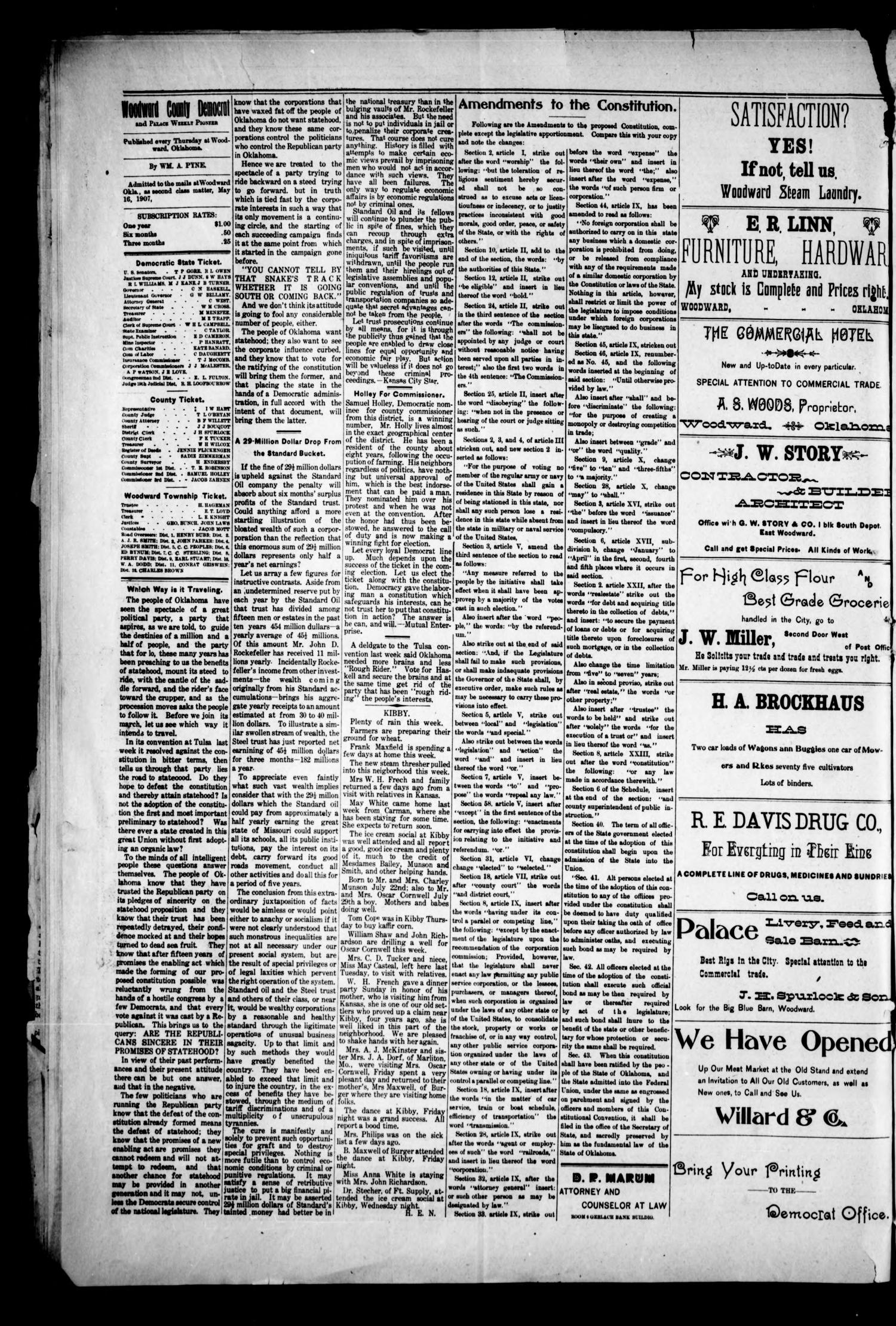 Woodward County Democrat and Palace Weekly Pioneer. (Woodward, Okla.), Vol. 3, No. 16, Ed. 1 Thursday, August 8, 1907                                                                                                      [Sequence #]: 4 of 4