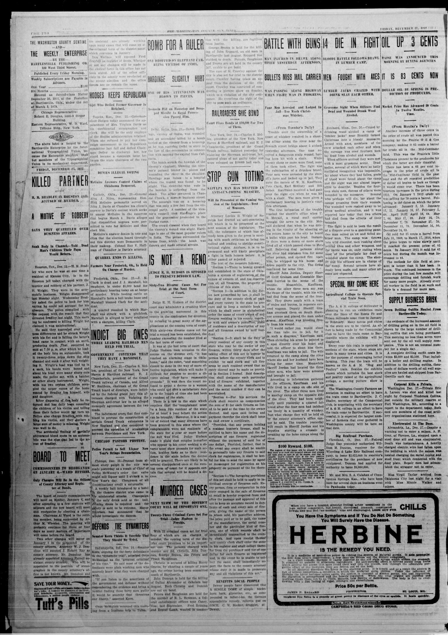 The Washington County Sentinel And The Weekly Enterprise (Bartlesville, Okla.), Vol. 8, No. 46, Ed. 1 Friday, December 27, 1912                                                                                                      [Sequence #]: 2 of 4