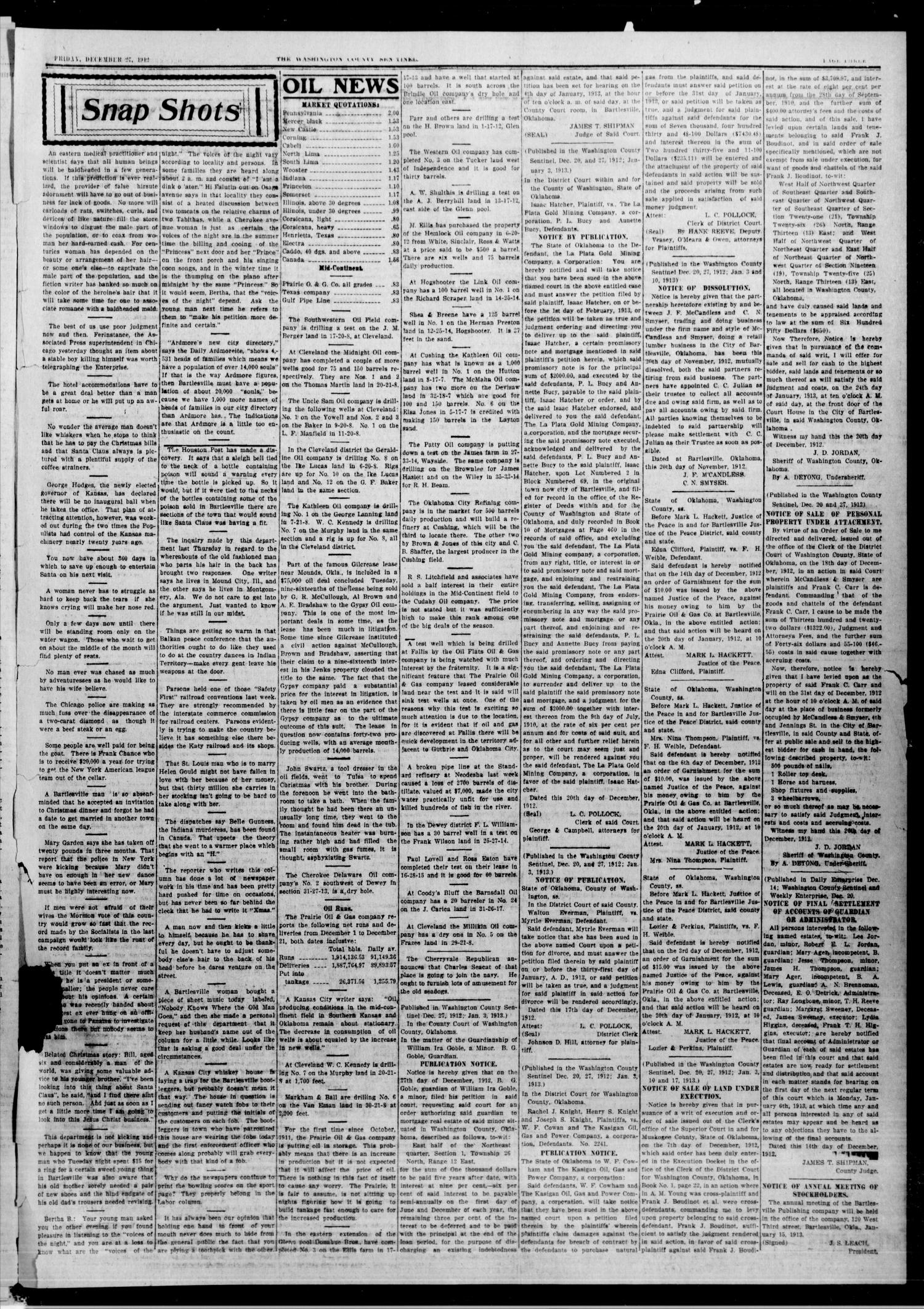 The Washington County Sentinel And The Weekly Enterprise (Bartlesville, Okla.), Vol. 8, No. 46, Ed. 1 Friday, December 27, 1912                                                                                                      [Sequence #]: 3 of 4