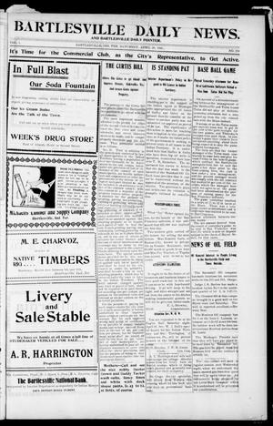 Primary view of object titled 'Bartlesville Daily News. And Bartlesville Daily Pointer. (Bartlesville, Indian Terr.), Vol. 1, No. 224, Ed. 1 Saturday, April 28, 1906'.