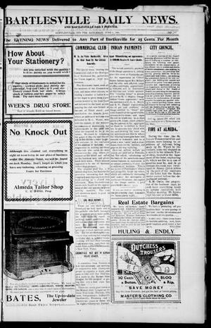 Primary view of object titled 'Bartlesville Daily News. And Bartlesville Daily Pointer. (Bartlesville, Indian Terr.), Vol. 1, No. 267, Ed. 1 Saturday, June 9, 1906'.