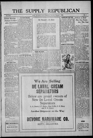 Primary view of The Supply Republican (Supply, Okla.), Vol. 22, No. 1, Ed. 1 Thursday, February 1, 1923