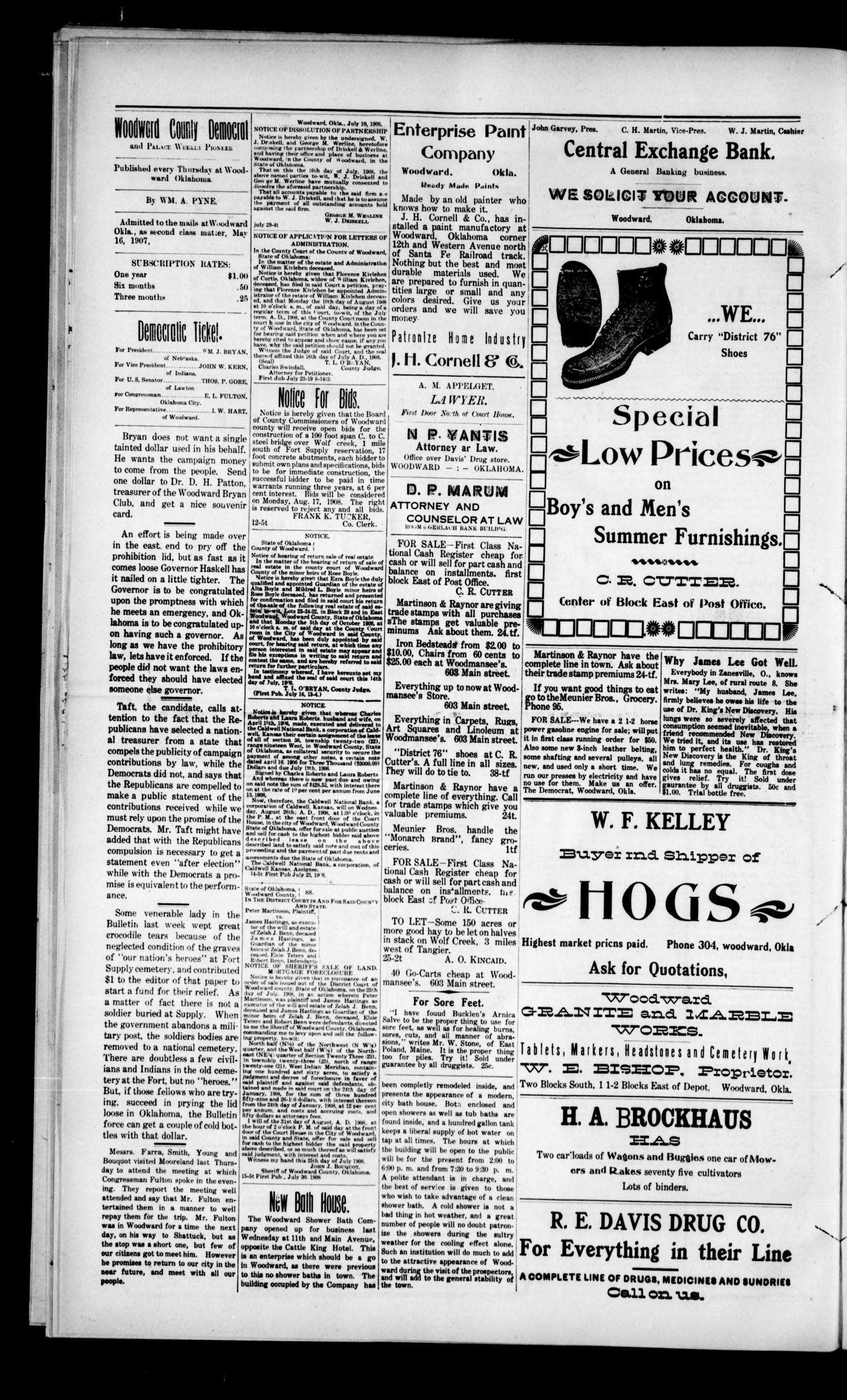 Woodward County Democrat and Palace Weekly Pioneer. (Woodward, Okla.), Vol. 4, No. 16, Ed. 1 Thursday, August 6, 1908                                                                                                      [Sequence #]: 4 of 8