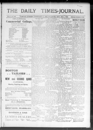 Primary view of object titled 'The Daily Times-Journal. (Oklahoma City, Okla. Terr.), Vol. 7, No. 199, Ed. 1 Tuesday, February 11, 1896'.