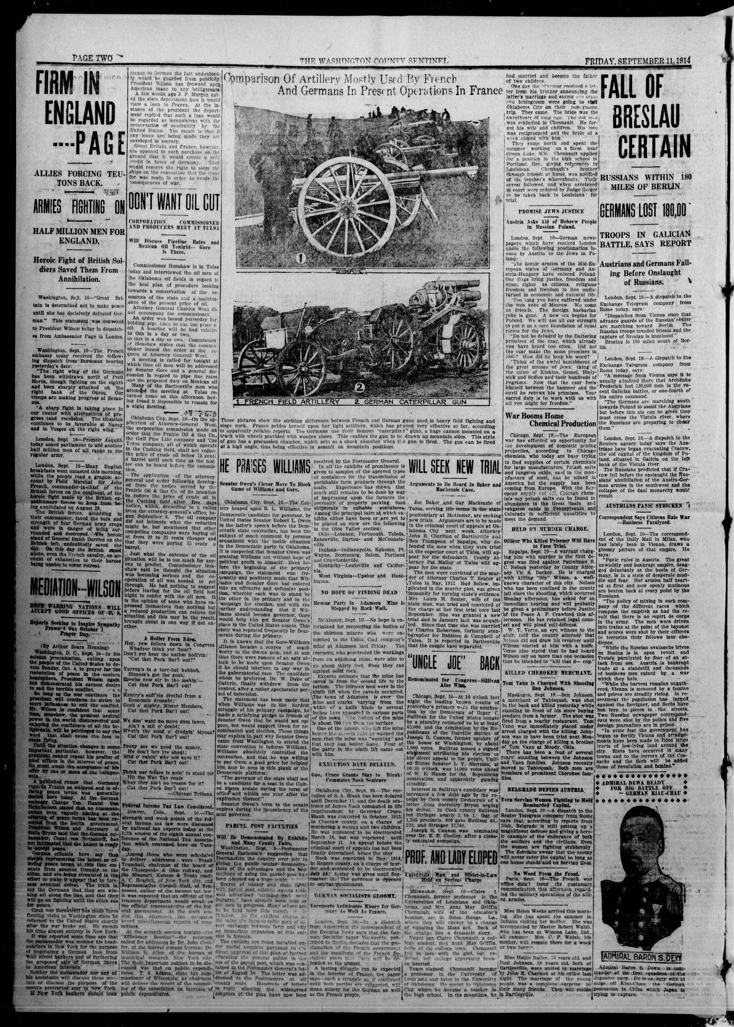 The Washington County Sentinel And The Weekly Enterprise (Bartlesville, Okla.), Vol. 10, No. 30, Ed. 1 Friday, September 11, 1914                                                                                                      [Sequence #]: 2 of 4