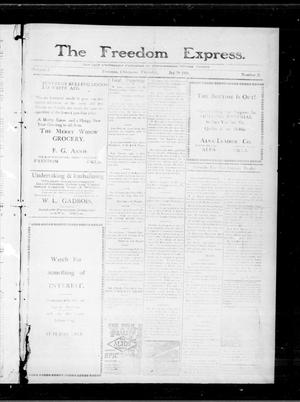 Primary view of object titled 'The Freedom Express. (Freedom, Okla.), Vol. 5, No. 38, Ed. 1 Thursday, December 29, 1910'.