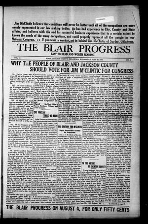 Primary view of object titled 'The Blair Progress (Blair, Okla.), Vol. 11, No. 8, Ed. 1 Wednesday, July 29, 1914'.