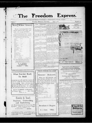 Primary view of object titled 'The Freedom Express. (Freedom, Okla.), Vol. 5, No. 21, Ed. 1 Thursday, September 1, 1910'.