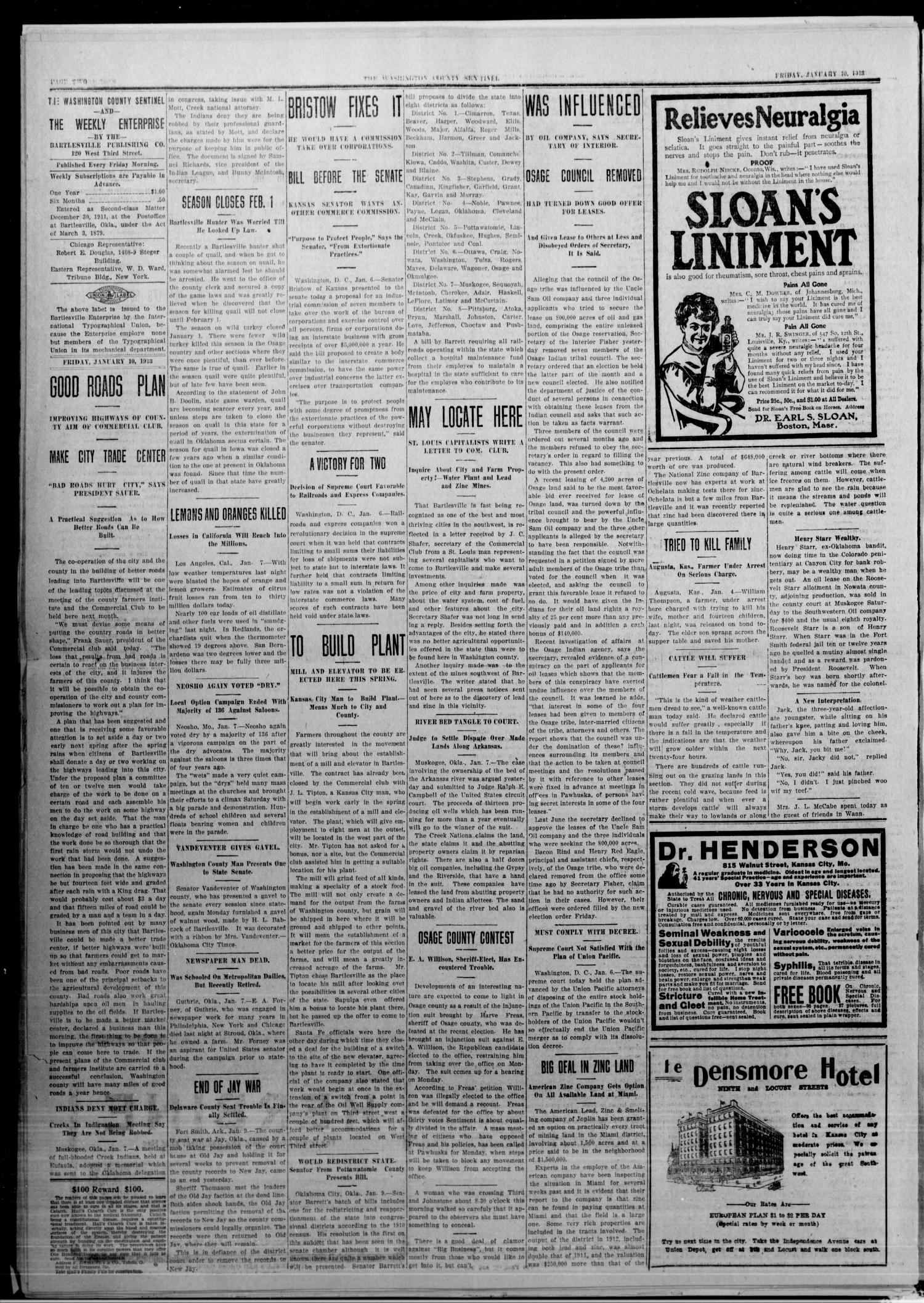 The Washington County Sentinel And The Weekly Enterprise (Bartlesville, Okla.), Vol. 8, No. 48, Ed. 1 Friday, January 10, 1913                                                                                                      [Sequence #]: 2 of 4
