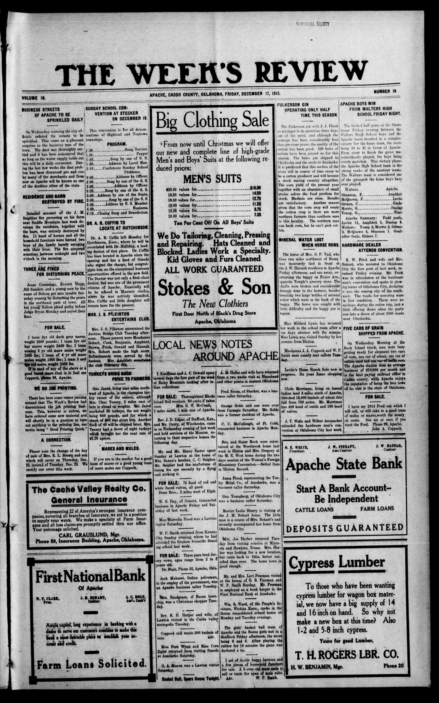 The Week's Review (Apache, Okla.), Vol. 15, No. 16, Ed. 1 Friday, December 17, 1915                                                                                                      [Sequence #]: 1 of 4