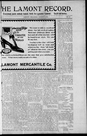 Primary view of object titled 'The Lamont Record. (Lamont, Okla.), Vol. 3, No. 18, Ed. 1 Thursday, August 6, 1908'.