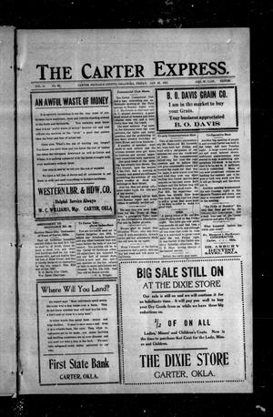 Primary view of object titled 'The Carter Express. (Carter, Okla.), Vol. 11, No. 45, Ed. 1 Friday, January 28, 1921'.