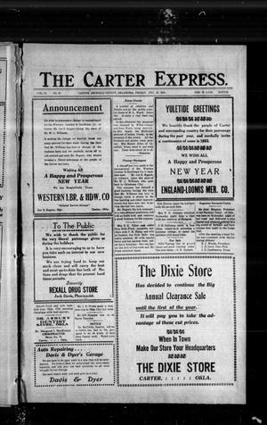Primary view of object titled 'The Carter Express. (Carter, Okla.), Vol. 12, No. 41, Ed. 1 Friday, December 30, 1921'.