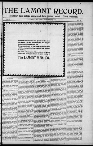 Primary view of object titled 'The Lamont Record. (Lamont, Okla.), Vol. 3, No. 30, Ed. 1 Thursday, October 29, 1908'.