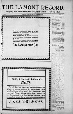 Primary view of object titled 'The Lamont Record. (Lamont, Okla.), Vol. 3, No. 26, Ed. 1 Thursday, October 1, 1908'.