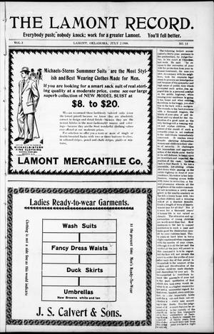 Primary view of object titled 'The Lamont Record. (Lamont, Okla.), Vol. 3, No. 13, Ed. 1 Thursday, July 2, 1908'.