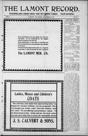 Primary view of object titled 'The Lamont Record. (Lamont, Okla.), Vol. 3, No. 27, Ed. 1 Thursday, October 8, 1908'.