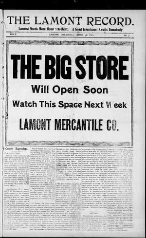 Primary view of object titled 'The Lamont Record. (Lamont, Okla.), Vol. 5, No. 2, Ed. 1 Thursday, April 28, 1910'.