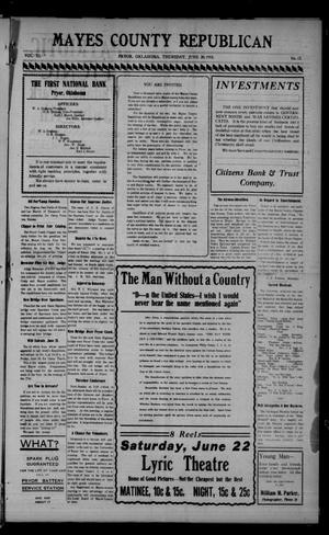 Primary view of object titled 'Mayes County Republican (Pryor, Okla.), Vol. 11, No. 17, Ed. 1 Thursday, June 20, 1918'.