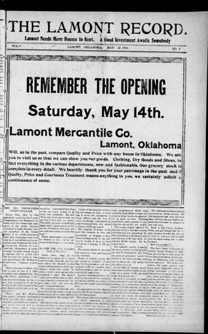 Primary view of object titled 'The Lamont Record. (Lamont, Okla.), Vol. 5, No. 4, Ed. 1 Thursday, May 12, 1910'.