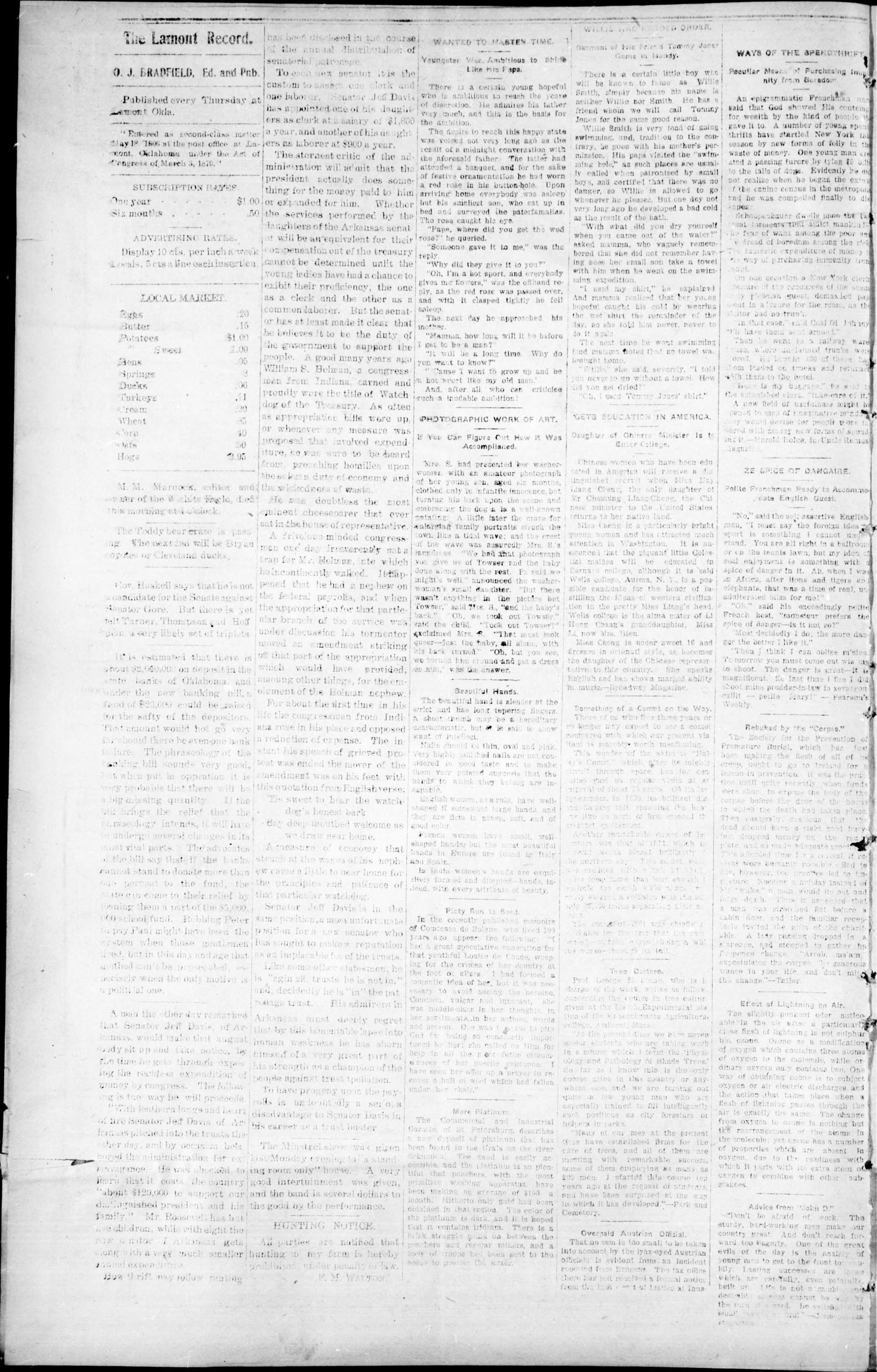 The Lamont Record. (Lamont, Okla.), Vol. 2, No. 38, Ed. 1 Thursday, January 2, 1908                                                                                                      [Sequence #]: 4 of 8