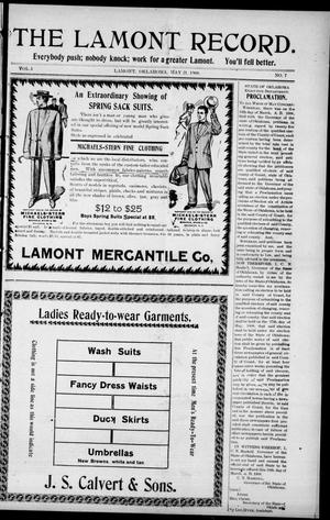 Primary view of object titled 'The Lamont Record. (Lamont, Okla.), Vol. 3, No. 7, Ed. 1 Thursday, May 21, 1908'.