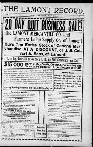 Primary view of object titled 'The Lamont Record. (Lamont, Okla.), Vol. 5, No. 6, Ed. 1 Thursday, May 26, 1910'.