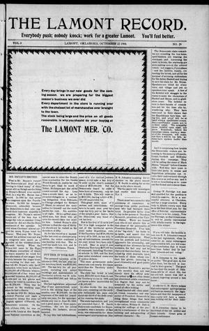 Primary view of object titled 'The Lamont Record. (Lamont, Okla.), Vol. 3, No. 29, Ed. 1 Thursday, October 22, 1908'.