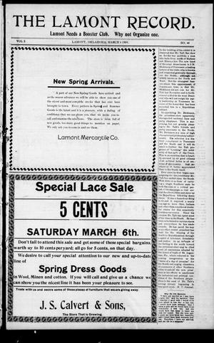 Primary view of object titled 'The Lamont Record. (Lamont, Okla.), Vol. 3, No. 48, Ed. 1 Thursday, March 4, 1909'.