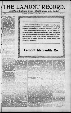 Primary view of object titled 'The Lamont Record. (Lamont, Okla.), Vol. 4, No. 41, Ed. 1 Thursday, January 20, 1910'.
