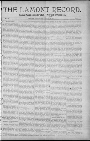 Primary view of object titled 'The Lamont Record. (Lamont, Okla.), Vol. 4, No. 21, Ed. 1 Thursday, August 26, 1909'.