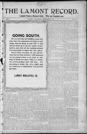 Primary view of object titled 'The Lamont Record. (Lamont, Okla.), Vol. 4, No. 31, Ed. 1 Thursday, November 4, 1909'.