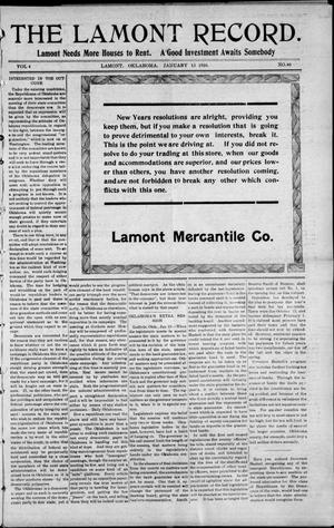 Primary view of object titled 'The Lamont Record. (Lamont, Okla.), Vol. 4, No. 40, Ed. 1 Thursday, January 13, 1910'.