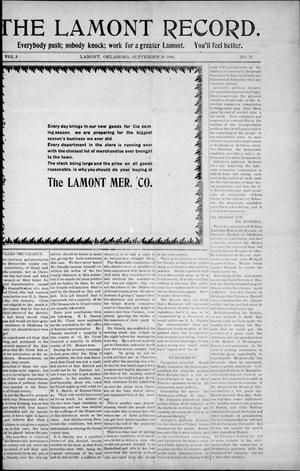 Primary view of object titled 'The Lamont Record. (Lamont, Okla.), Vol. 3, No. 25, Ed. 1 Thursday, September 24, 1908'.