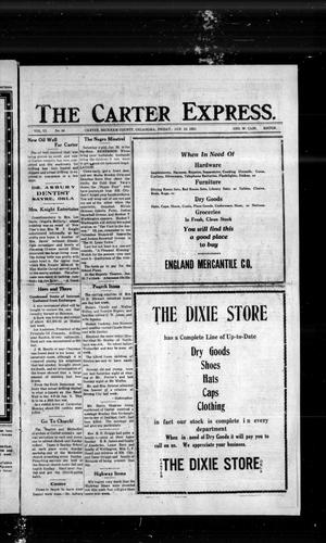 Primary view of object titled 'The Carter Express. (Carter, Okla.), Vol. 13, No. 44, Ed. 1 Friday, January 19, 1923'.