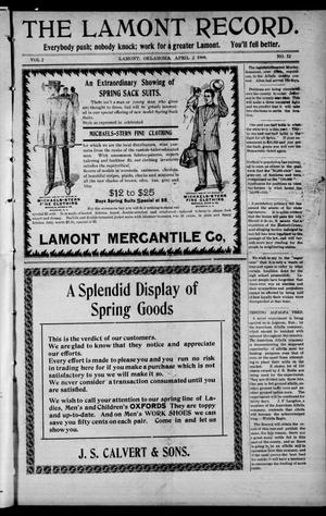 Primary view of object titled 'The Lamont Record. (Lamont, Okla.), Vol. 2, No. 52, Ed. 1 Thursday, April 2, 1908'.