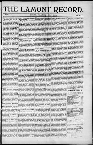 Primary view of object titled 'The Lamont Record. (Lamont, Okla.), Vol. 5, No. 12, Ed. 1 Thursday, July 7, 1910'.